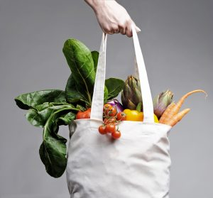 Vegetables in shopping bag